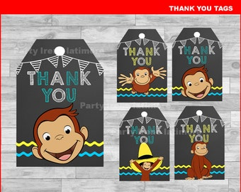 Curious George Thank you Tags Instant download, Curious George Chalkboard tags, Curious George party Thank you Tags