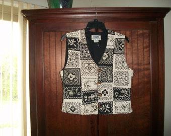 Vintage Womens Ivory/Black Embroidered Vest Size M
