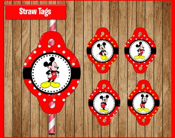 Mickey Mouse straw tags instant download, Printable Mickey Mouse party straw tags, Mickey straw toppers