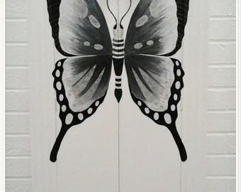 Upcycled Vintage Tallboy Butterfly Wardrobe