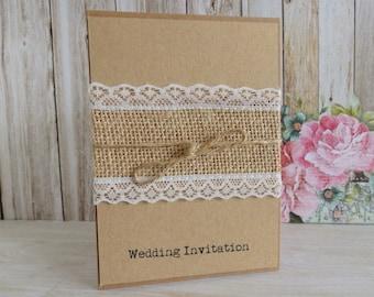 Rustic Twine & Hessian Lace Wedding Invitation - A6 size - Portrait