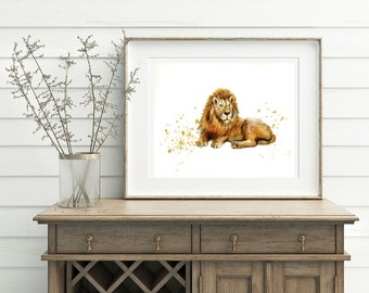 Lion Art Print, Lion Watercolor. Printable Lion Artwork - Lion wall print, Lion art decor, Lion wall decor, Digital Download, Instant file