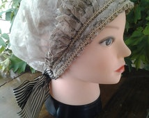 EXCEPTIONAL ANTIQUE French lace and muslin lady's bonnet with black and white stripe ribbon tie
