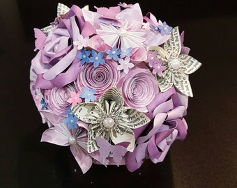 Florigami bouquet in lilacs, pink and blue, with book page flowers, pearls