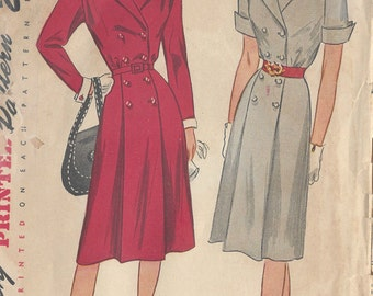 "1946 Vintage Sewing Pattern B30"" DRESS (6)  Simplicity 1863"