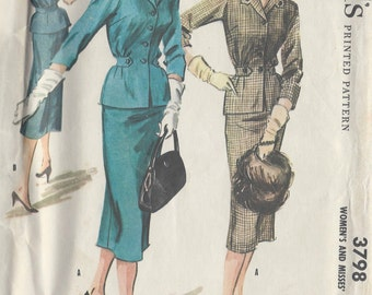 1956 Vintage Sewing Pattern B38 SUIT DRESS (R867) McCall's 3798