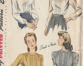 "1947 Vintage Sewing Pattern BLOUSE B32"" (R458) Simplicity 2340"