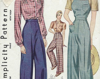 1940 Vintage Sewing Pattern B32-W26 BLOUSE-TROUSERS-OVERALLS (1233)   Simplicity 3322