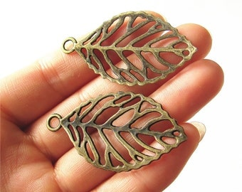Leaf Vein Charm Pendant Antique Brass Drop Handmade Jewelry Finding 27x50mm 3 pcs