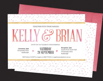 Items Similar To Wedding Invitations Or Party Invitation With Perforated Tear