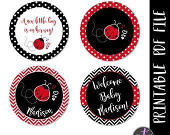 Ladybug Cupcake Toppers, Ladybug Baby Shower, Ladybug Babyshower Cupcake toppers, Ladybug Labels, Labdybug Favors, Babyshower Favors