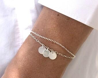 Bracelet three lozenges in 925 on double channels