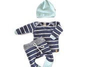 Baby Clothing Set- Striped tshirt, Baby Boy Pants- Baby t-shirt- Baby Boy Leggings- Baby Hat- Baby boy outfit- Newborn Baby set- Infant