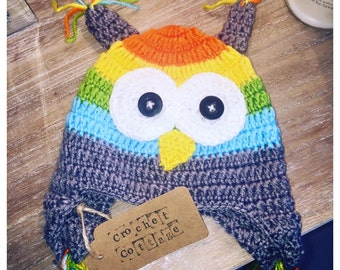 Crochet Striped Owl Hat