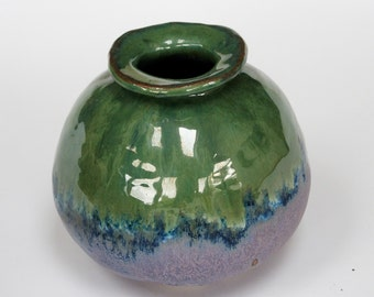 Green Vase dark blue vessel, unique glaze, original hand made pot made from clay stone ceramics. collection mix and match.