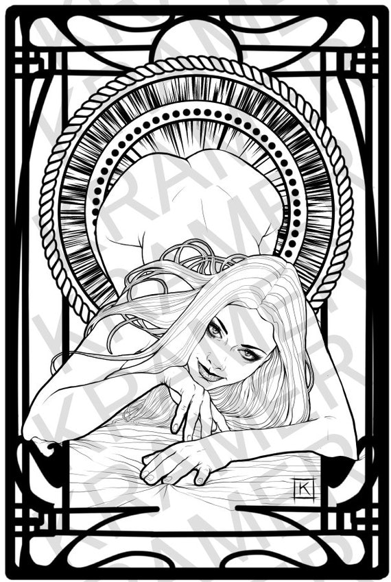 sexy nude woman single erotic adult coloring page