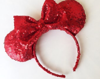 Red Sequin Mouse Ears
