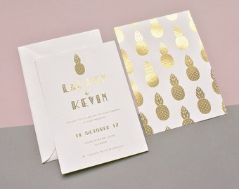 Pineapple Gold Foil Wedding Invitation