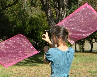 Fall Sale!  Flag Poi - Pretty Pink with Silvery Stars