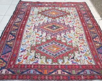 Vintage Silk u0026 Handwoven Soumak Rug Soumak Kilim Rug Handwoven Sumac Rug,Living  Room Decor Colorful Sumak size: 192 x 118 cm