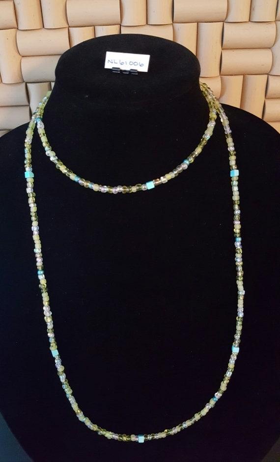 "Long Beaded Necklace / Petite Beaded Necklace 42"" / Double for Choker / Petite Bead Necklace / Hippie Necklace / Boho Jewelry /NL61006"