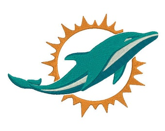 4 sizes Miami Dolphins Embroidery Design, Football Team Logo Machine Embroidery Design, Instant Download