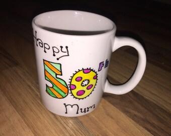 Personalised hand painted birthday mug