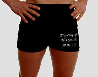 Personalised Mens Boxer Shorts Underwear ANY MESSAGE Wedding Gift Husband Groom Best Man Present 2nd Anniversary 100% Cotton - Leg