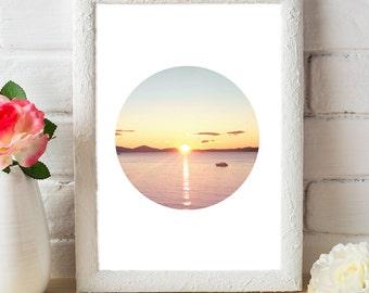 Sunset, Lake, Gold, Pink, Blue, Yellow, Art print, Digital download, Home decor, Circle art, Modern art, Digital print, Photo art, Poster