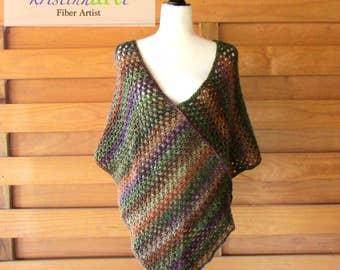 Cozy Autumn Poncho Wrap / Deep V Front / Handmade Crochet Garment / Women's Gift Ideas / Green / Purple / Gray / Orange / Acrylic Yarn /