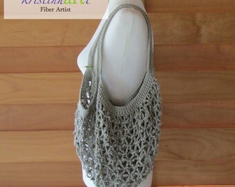 Mesh Shopping Bag in Khaki / Handmade Crochet / Women's Gift Idea / Cotton  / Market Bag / Beach Bag