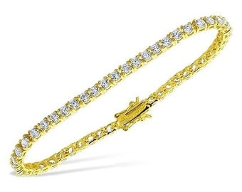 """Beautiful 5.00 CTW Simulated Diamond 14K Yellow Gold Finish Bracelet 7.25"""""""