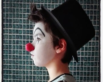red clown nose - round nose - handmade