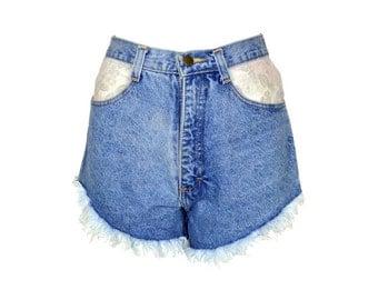 70s Blue Denim Floral Pocket Shorts UK 8
