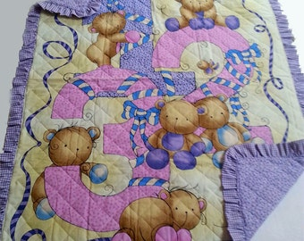 Handcrafted baby quilt - handmade - purple baby blanket - teddy bear print - pure cotton - washable cotton quilt - hand-stitched - baby gift