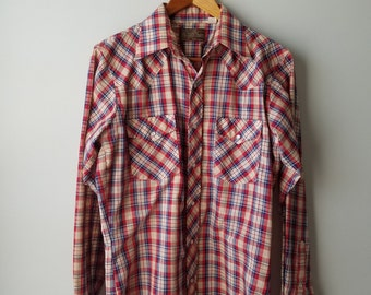 "SALE  ""The Western Shop"" / 1970s / JCPenny / pearl snap button / plaid / rockabilly / hipster /  mens / medium/ large/ fall / button down"