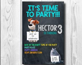 Pets Invites, The secret life of Pets Invitation, Secret life of pets Birthday Party Invitations, Printable Invitation, Custom Invites, PDF