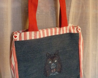 Jeans bag, shopping bag for girls, embroidery motif dog,
