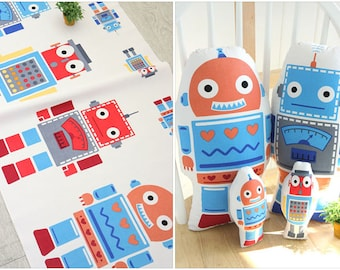 robots fabric panel/robot doll cushion diy kit/nursery decor diy pillow/baby cute fabric/nursery deco/kids room deco/cushion diy