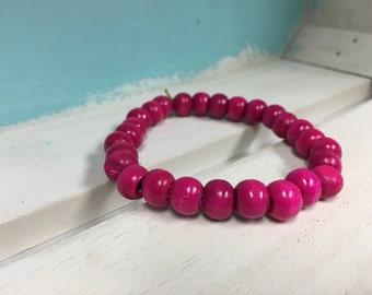 Magenta Wooden Bead Bracelet
