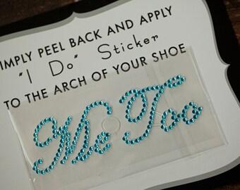 Me Too Rhinestone Shoe Stickers for Brides, Wedding Shoes Sticker, Bridal Details, Something Blue | AQUA BLUE