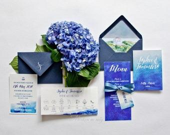 Wedding Invitation Watercolor Blue Sea Italy
