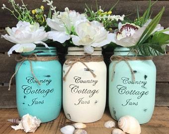 Large 3 Piece Rustic Distressed Handpainted Mason Jar Vase Set
