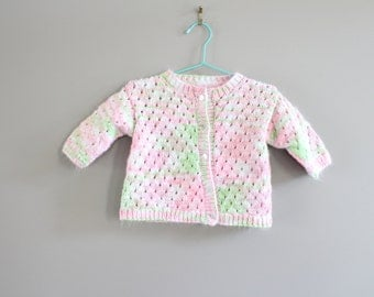 Hand Knitted Baby Girl Cardigan Size 0 to 6 M #k003a