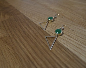 Round beads and earrings triangle gold, either in green or yellow - Triangle earrings