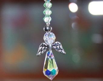 Swarovski Crystal Suncatcher, Angel with Metal Wing, Meditation, Car Charm, Bridal, New Baby, Window and Nursery Decoration.