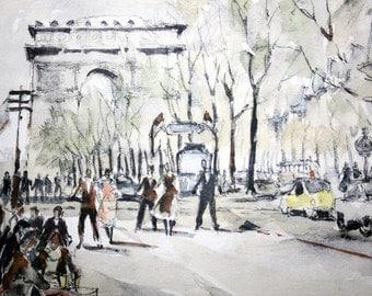 Herbelot Aquarell Paris, original with signature,Les Champs Elysees
