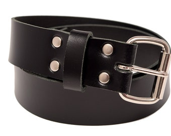 Handmade Genuine Black Leather Belt 2 inch width fitted with nickel plated roller buckle