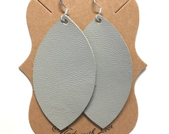 Gray Leather Statement Earrings