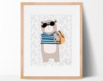 Hipster Bear Wall Print_0002WP